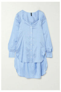 Unravel Project - Asymmetric Striped Silk-satin Shirt - Light blue