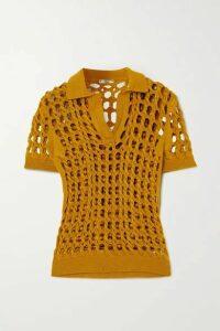 Fendi - Crochet-knit Polo Shirt - Yellow