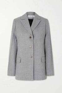 Loewe - Tie-detailed Pinstriped Wool And Silk-blend Blazer - Gray