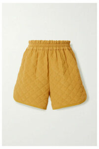Fendi - Quilted Padded Silk Crepe De Chine Shorts - Mustard