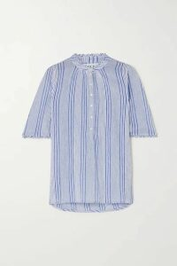 APIECE APART - Alta Striped Crinkled Cotton-gauze Shirt - Light blue