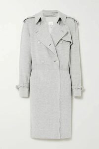 Burberry - Double-breasted Paneled Wool-blend Jersey And Ribbed-knit Trench Coat - Gray