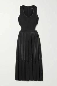 LOW CLASSIC - Cutout Pleated Wool-twill Midi Dress - Navy