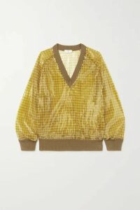 Fendi - Sequined Checked Knitted Sweater - Yellow