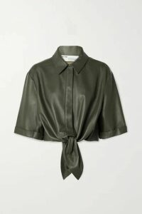 Off-White - Tie-front Leather Shirt - Army green