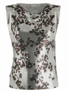Paco Rabanne floral print metallic T-shirt - SILVER