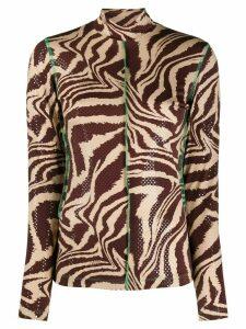 GANNI animal-print jersey rollneck top - Brown