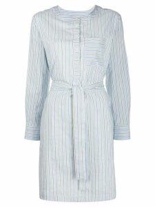 A.P.C. tie-waist pinstriped shirtdress - Blue