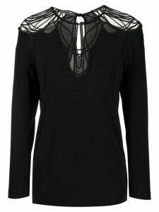 Alberta Ferretti long-sleeved sheer-panels blouse - Black