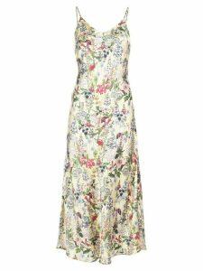 Madison. Maison Lauren floral-print silk dress - Yellow