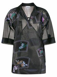 GANNI patch organza oversized shirt - Grey