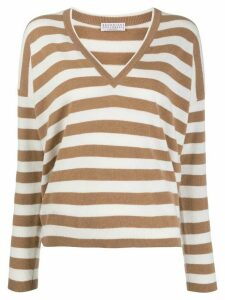 Brunello Cucinelli striped V-neck jumper - NEUTRALS