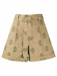Chloé embroidered logo belted shorts - NEUTRALS