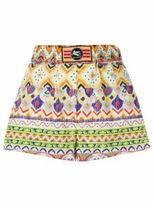 Etro mixed-print logo patch shorts - NEUTRALS