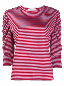 Danielapi striped ruched-sleeved top - Red