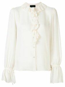 Nili Lotan ruffle-trimmed chiffon blouse - White