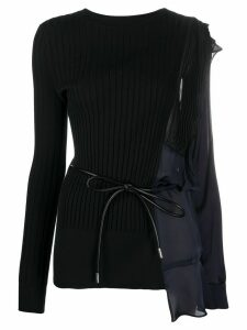 Sacai knitted deconstructed jumper - Black