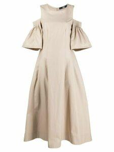 Karl Lagerfeld cold-shoulder flared dress - NEUTRALS
