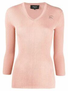 Rochas ribbed-knit cotton jumper - PINK