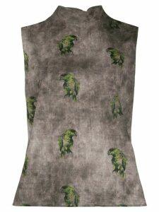 Lardini bird-print cotton blouse - NEUTRALS