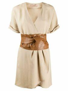 Twin-Set belted mini wrap dress - NEUTRALS