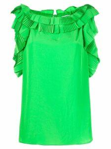 P.A.R.O.S.H. sleeveless ruffled trim blouse - Green