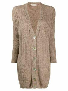 Gentry Portofino fine knit longline cardigan - NEUTRALS