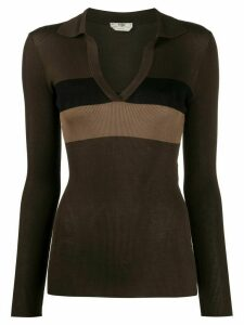 Fendi fine knit ribbed top - Brown