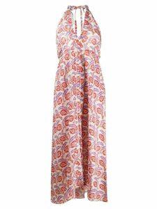 Isabel Marant printed halter neck dress - ORANGE