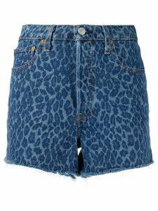 Levi's frayed leopard denim shorts - Blue