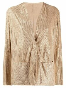 Emporio Armani metallic-striped collarless jacket - NEUTRALS