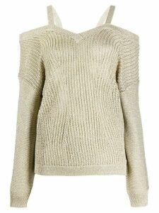 LIU JO long-sleeved off-the-shoulder jumper - GOLD