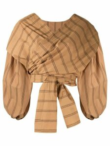 Acler Wyatt stripe print wrap blouse - Brown
