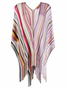 Missoni fringed crochet-knit poncho - PINK
