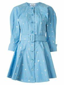 The Attico sequin-embellished flared dress - Blue