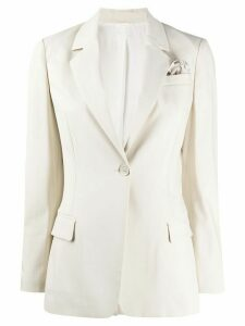 Brunello Cucinelli silk single-breasted fitted blazer - NEUTRALS