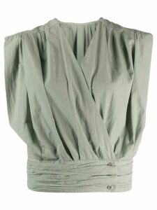 Lemaire gathered poplin top - Green