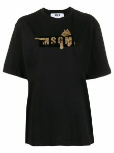 MSGM cat logo-print T-shirt - Black
