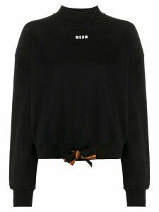 MSGM logo print tie waist sweatshirt - Black