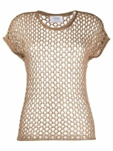 Snobby Sheep sequinned perforated T-shirt - Brown