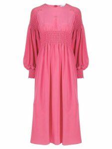 RedValentino shirred long-sleeve midi dress - PINK