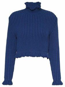 Miu Miu chunky-knit cropped jumper - Blue