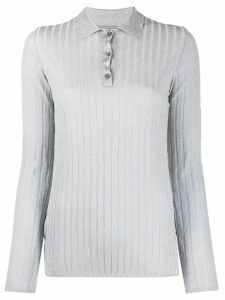 Prada metallic ribbed knitted top - SILVER
