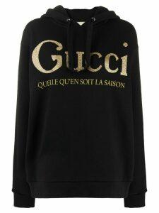 Gucci glitter-logo hoodie - Black