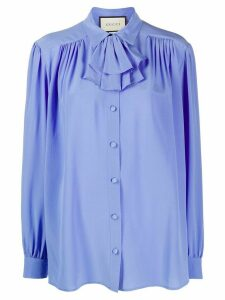 Gucci ruffle-neck blouse - Blue