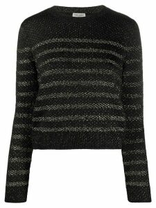 Saint Laurent metallic thread crewneck jumper - Black