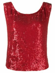 P.A.R.O.S.H. sequin embellished sleeveless top - Red