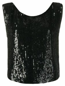 P.A.R.O.S.H. sequin embellished sleeveless top - Black