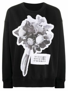 Mm6 Maison Margiela floral bouquet patch sweatshirt - Black