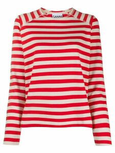 GANNI striped long-sleeve shirt - Red